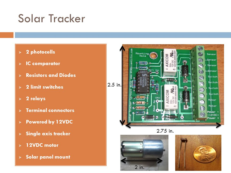 Solar Tracker 2 photocells IC comparator Resistors and Diodes