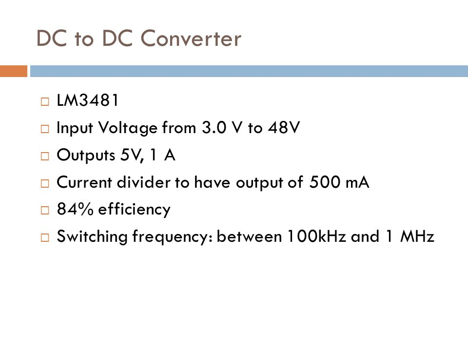 DC to DC Converter LM3481 Input Voltage from 3.0 V to 48V