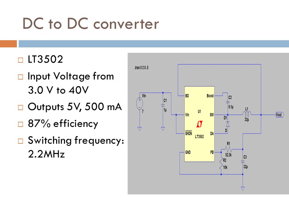 DC to DC converter LT3502 Input Voltage from 3.0 V to 40V