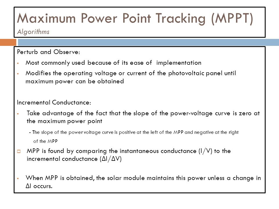 Maximum Power Point Tracking (MPPT) Algorithms
