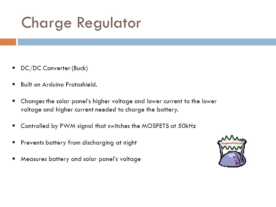 Charge Regulator DC/DC Converter (Buck) Built on Arduino Protoshield.
