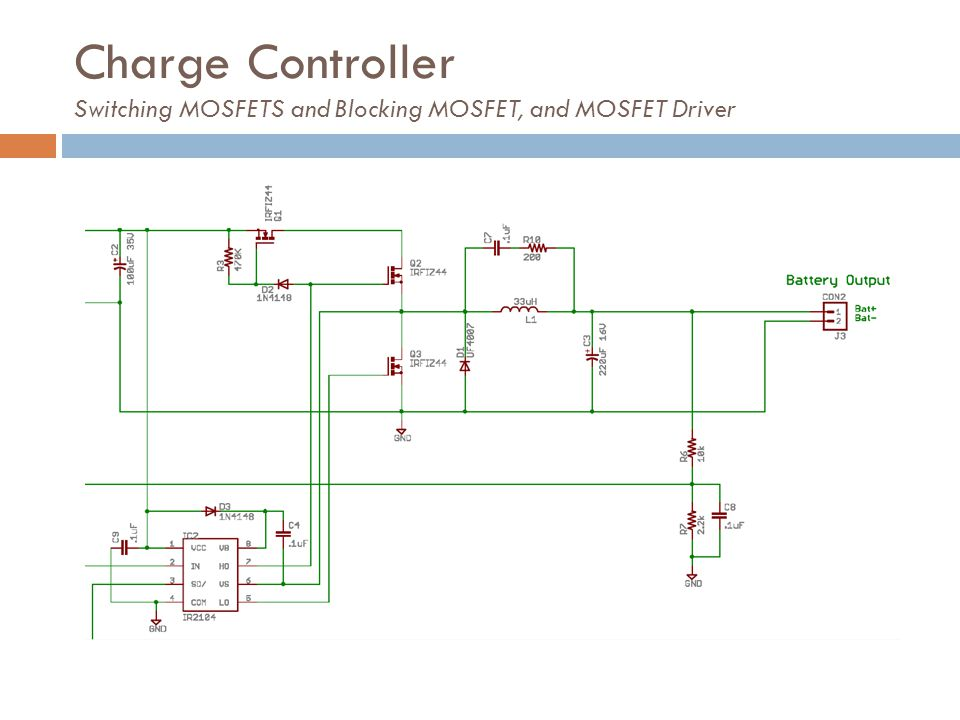 Charge Controller Switching MOSFETS and Blocking MOSFET, and MOSFET Driver