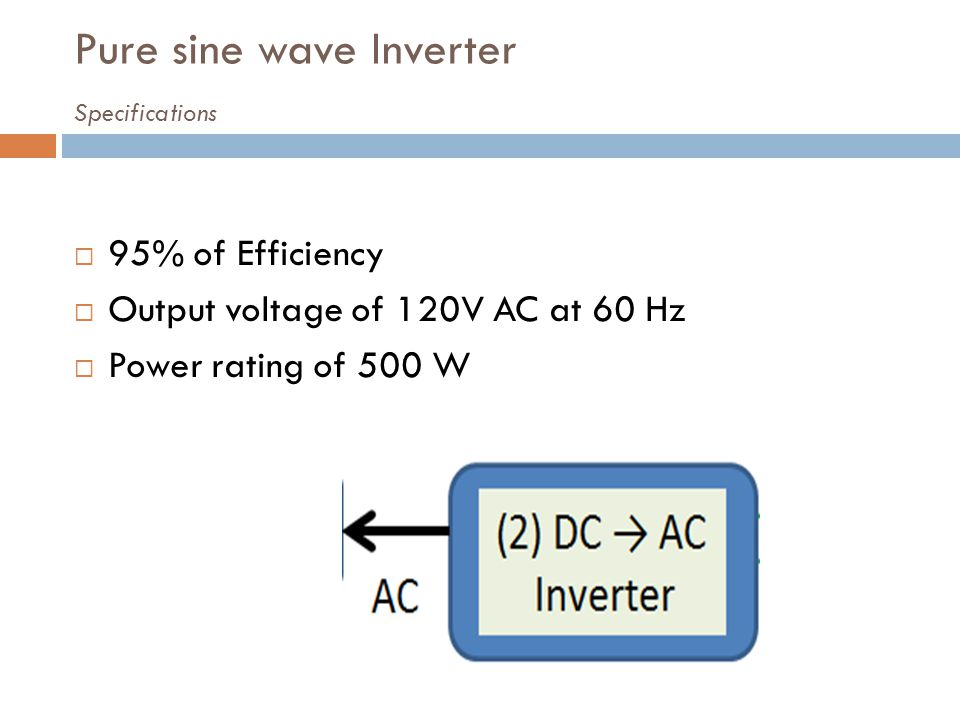 Pure sine wave Inverter Specifications