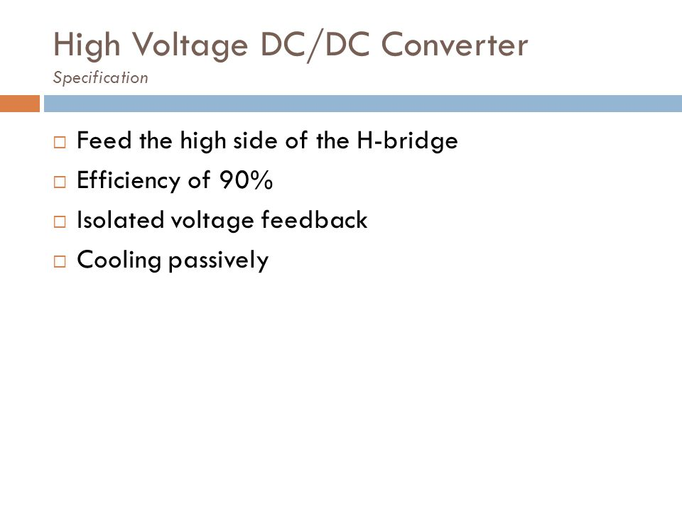 High Voltage DC/DC Converter Specification