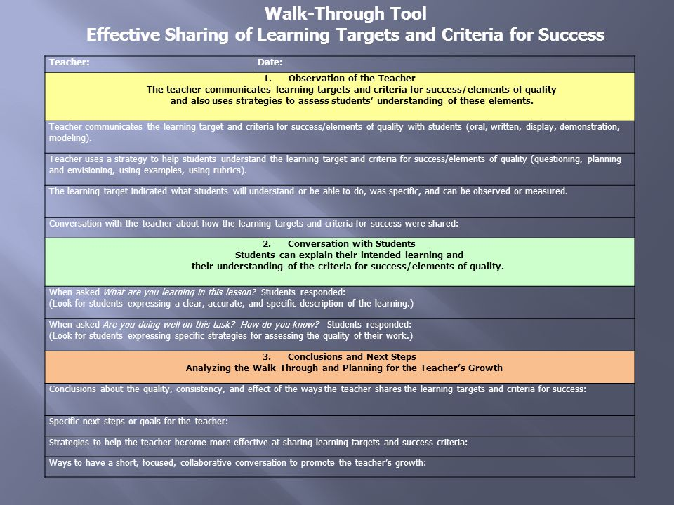 Effective Sharing of Learning Targets and Criteria for Success