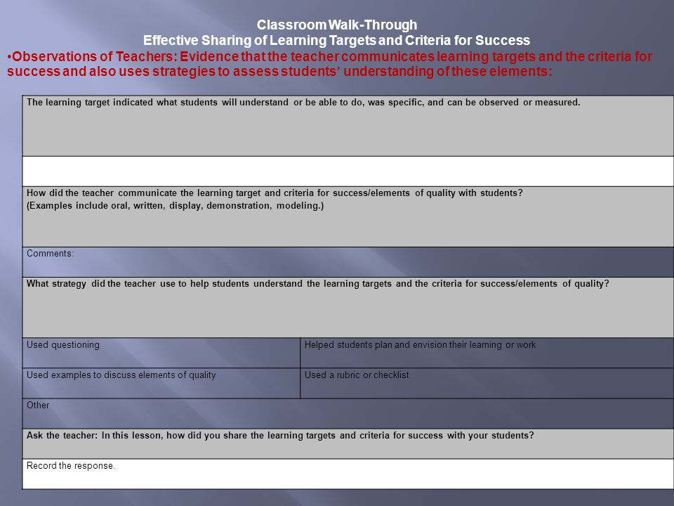 Classroom Walk-Through Effective Sharing of Learning Targets and Criteria for Success