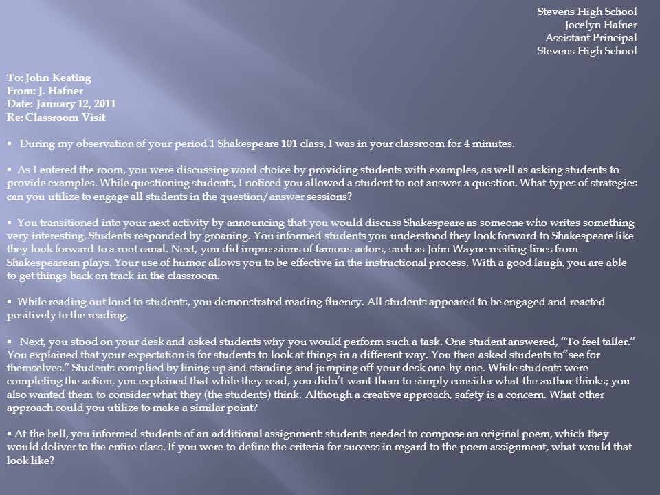 Stevens High School Jocelyn Hafner. Assistant Principal. To: John Keating. From: J. Hafner. Date: January 12, 2011.