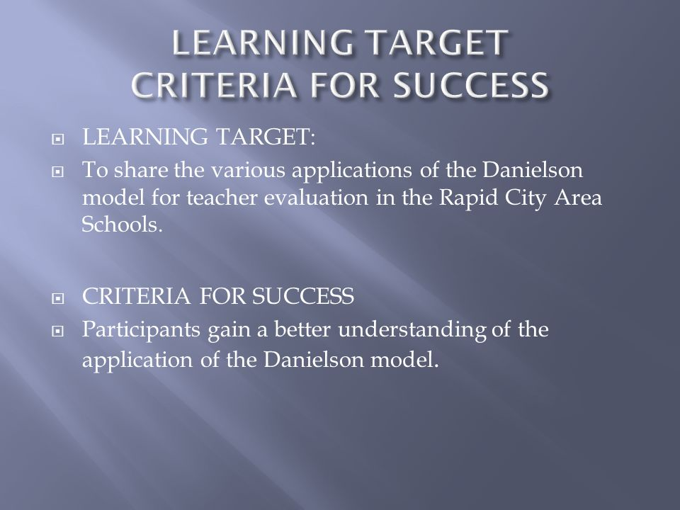 LEARNING TARGET CRITERIA FOR SUCCESS