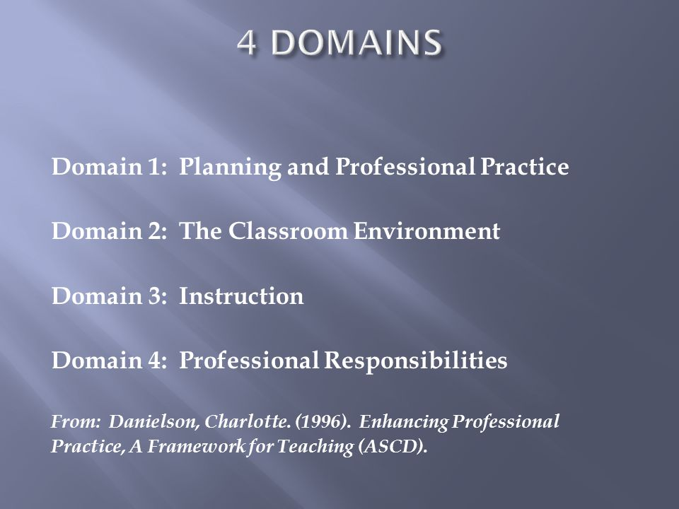 4 DOMAINS Domain 1: Planning and Professional Practice