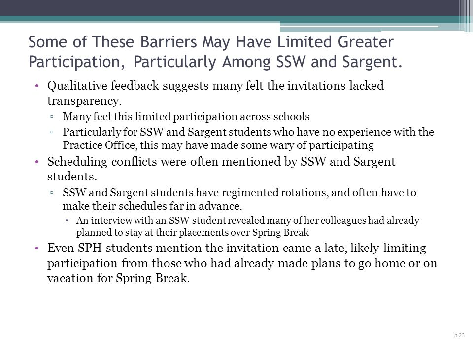 Some of These Barriers May Have Limited Greater Participation, Particularly Among SSW and Sargent.