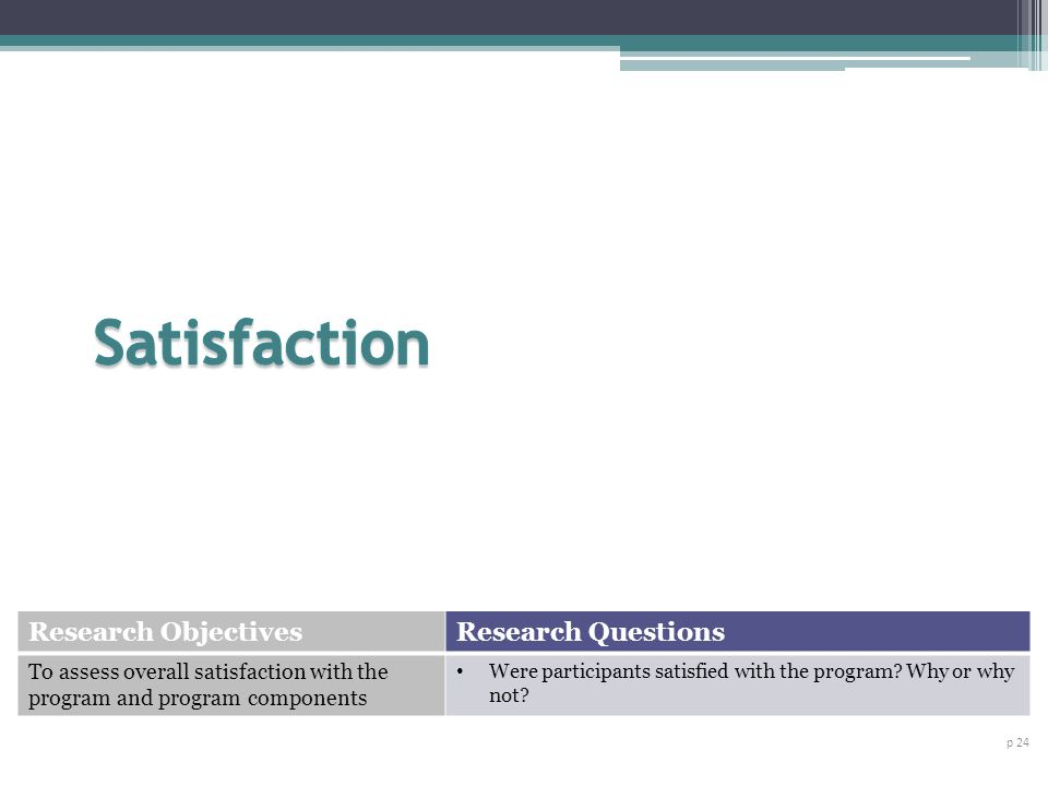 Satisfaction Research Objectives Research Questions