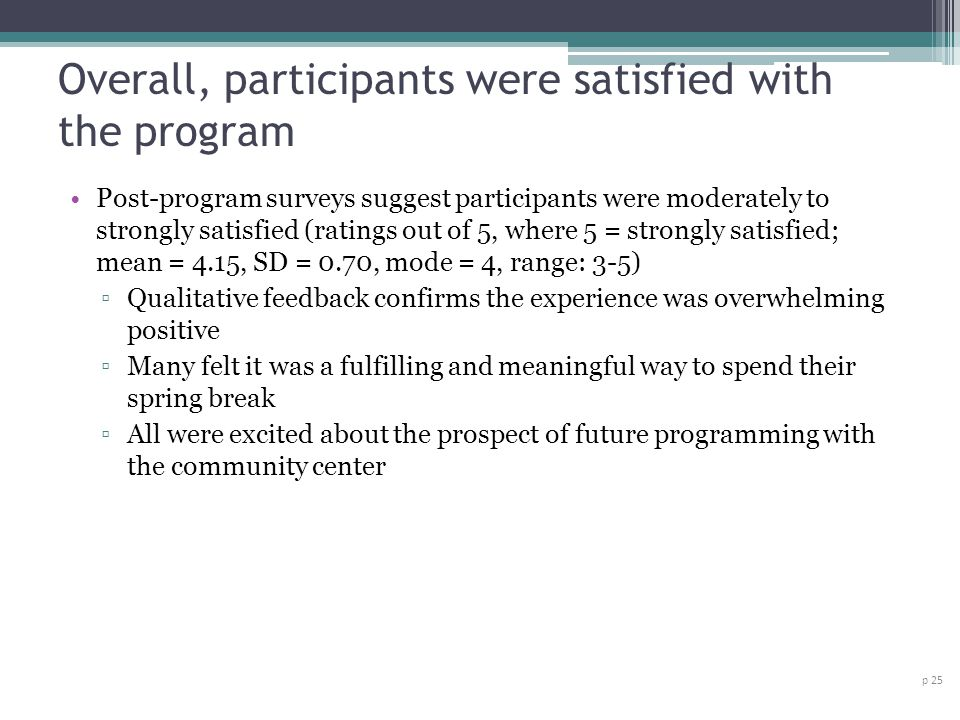 Overall, participants were satisfied with the program