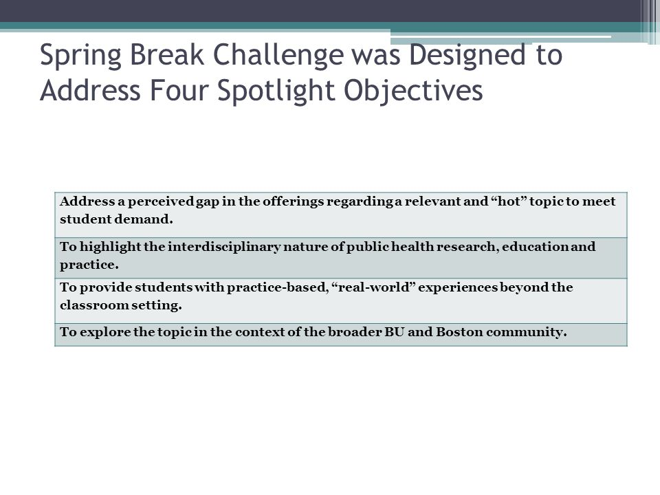 Spring Break Challenge was Designed to Address Four Spotlight Objectives