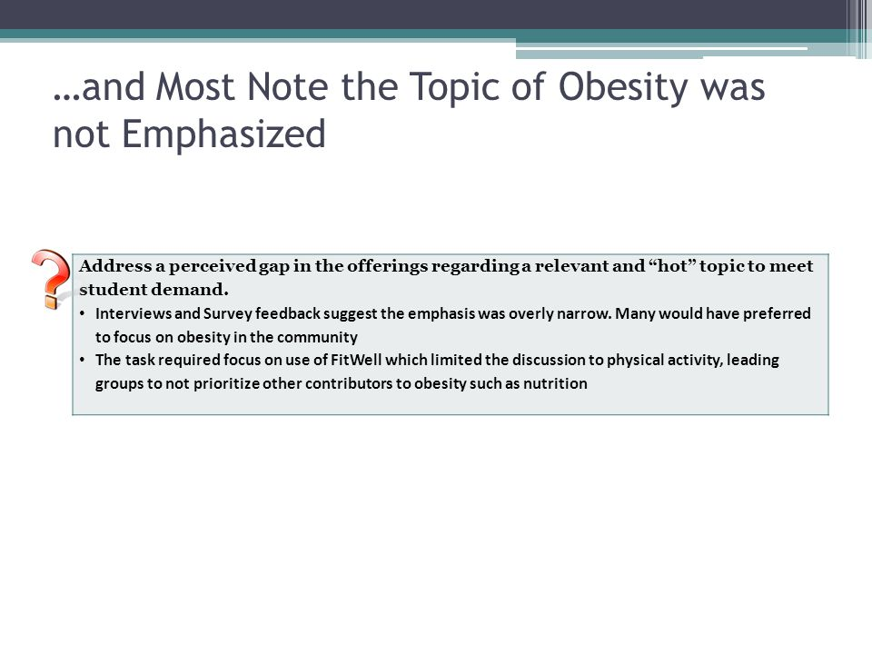 …and Most Note the Topic of Obesity was not Emphasized