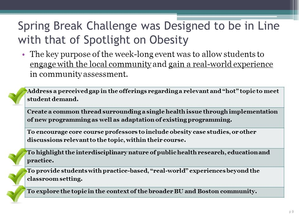 Spring Break Challenge was Designed to be in Line with that of Spotlight on Obesity