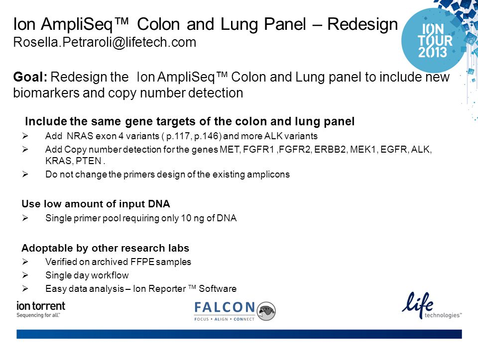 Ion AmpliSeq™ Colon and Lung Panel – Redesign Rosella