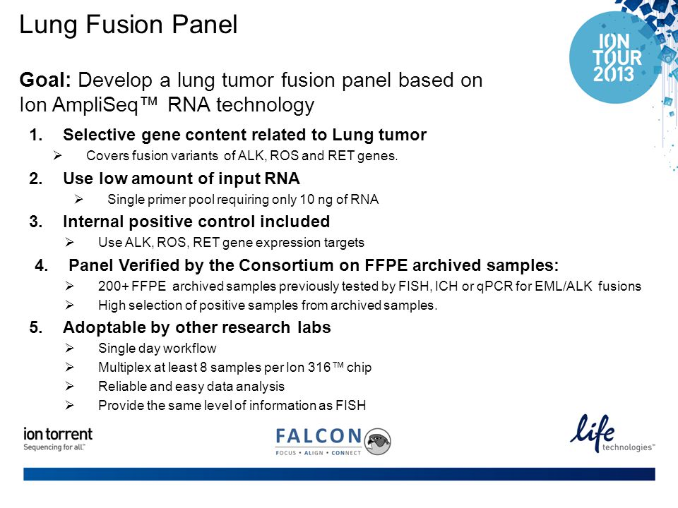 Lung Fusion Panel Goal: Develop a lung tumor fusion panel based on Ion AmpliSeq™ RNA technology