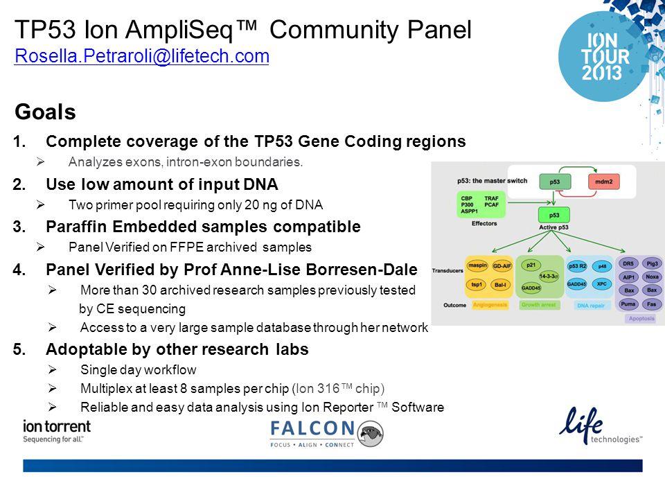 TP53 Ion AmpliSeq™ Community Panel Rosella. Petraroli@lifetech