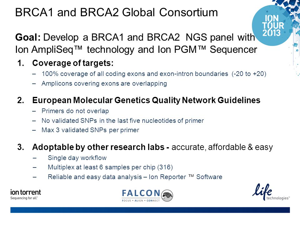 BRCA1 and BRCA2 Global Consortium Goal: Develop a BRCA1 and BRCA2 NGS panel with Ion AmpliSeq™ technology and Ion PGM™ Sequencer