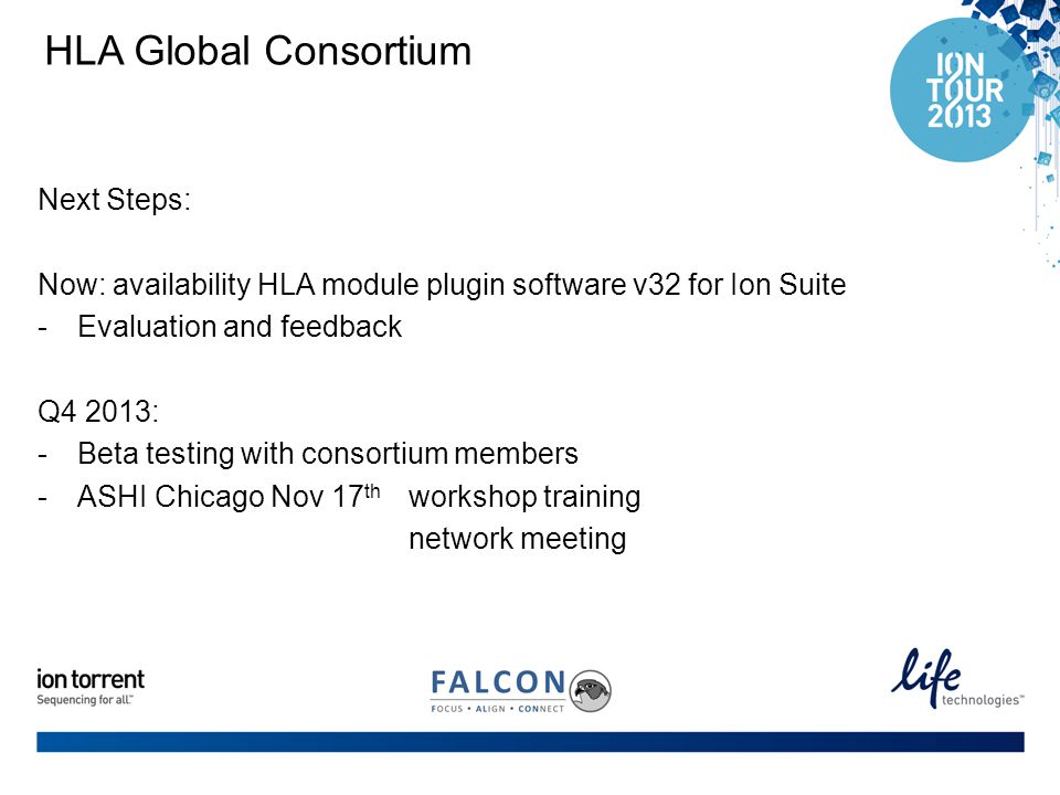 HLA Global Consortium Next Steps: