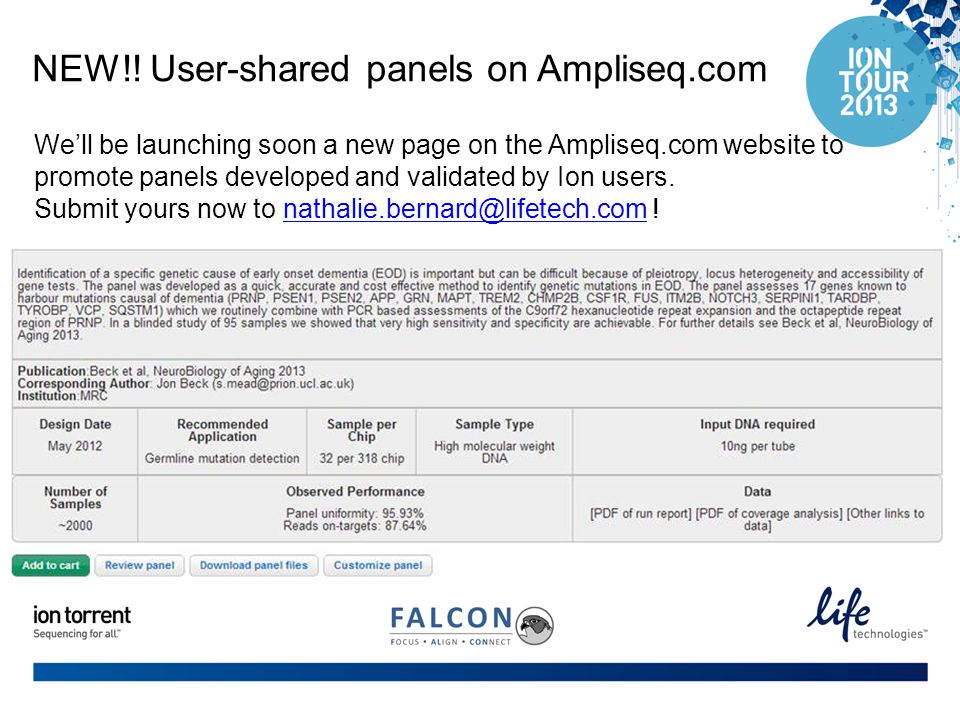 NEW!! User-shared panels on Ampliseq.com