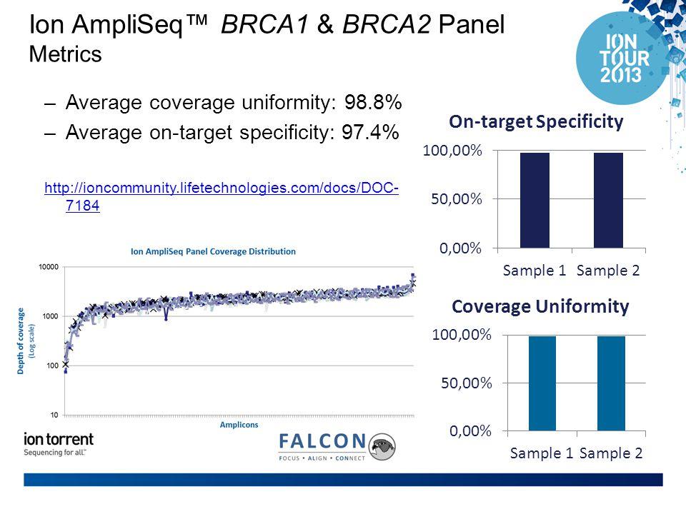 Ion AmpliSeq™ BRCA1 & BRCA2 Panel Metrics