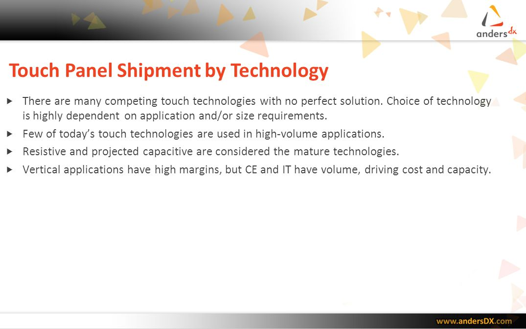 Touch Panel Shipment by Technology