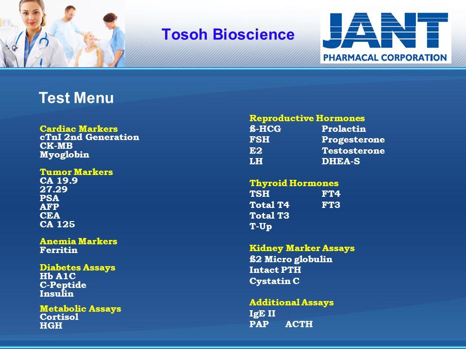 Tosoh Bioscience Test Menu Reproductive Hormones ß-HCG Prolactin