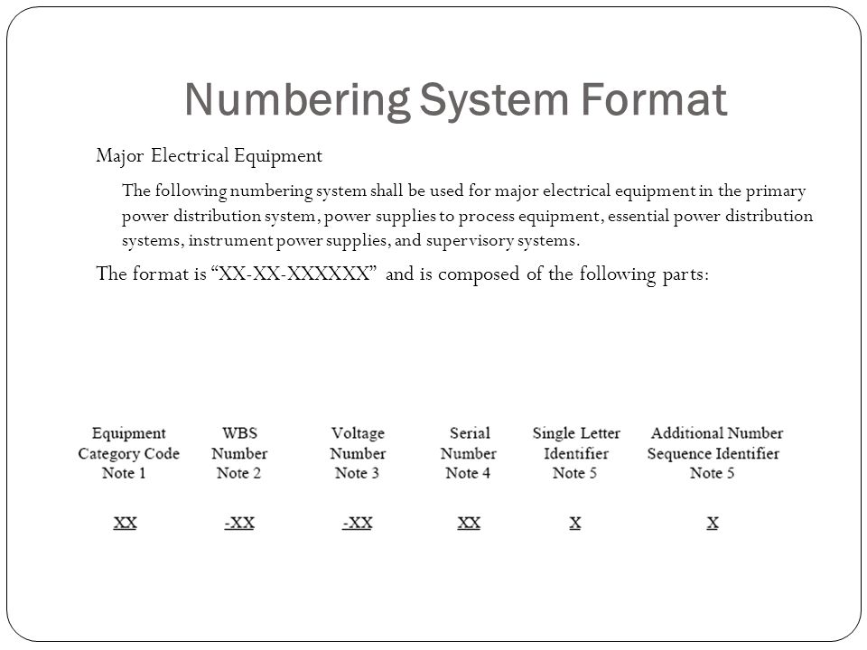 Numbering System Format