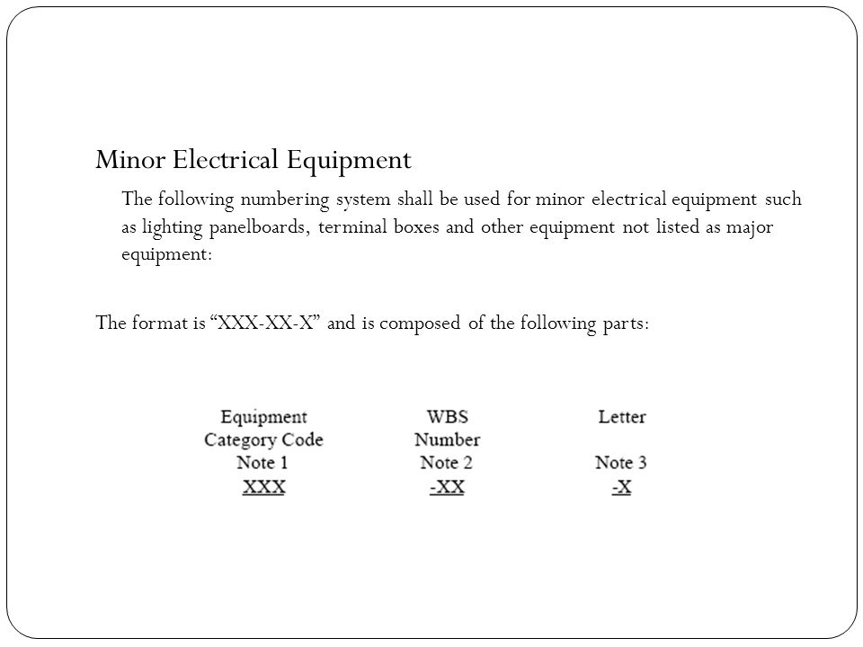 Minor Electrical Equipment