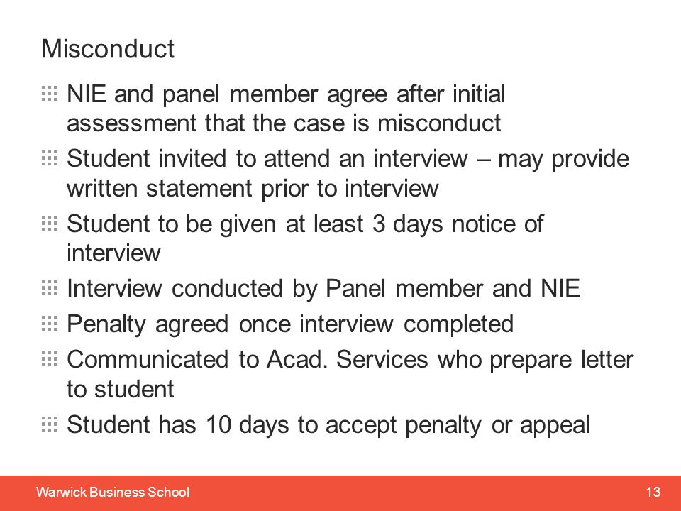 Misconduct NIE and panel member agree after initial assessment that the case is misconduct.