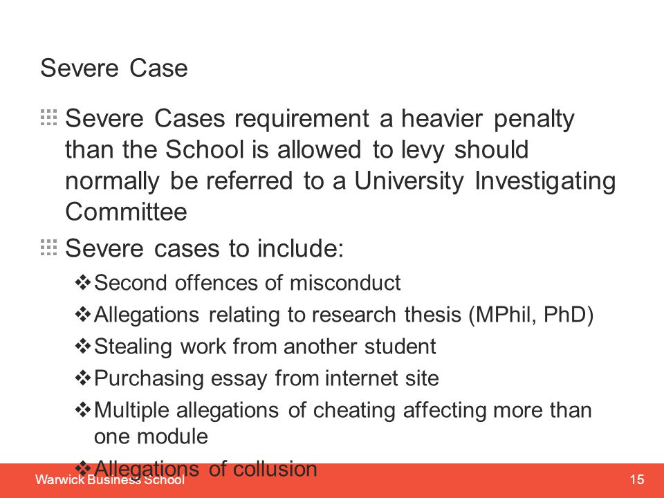 Severe cases to include: