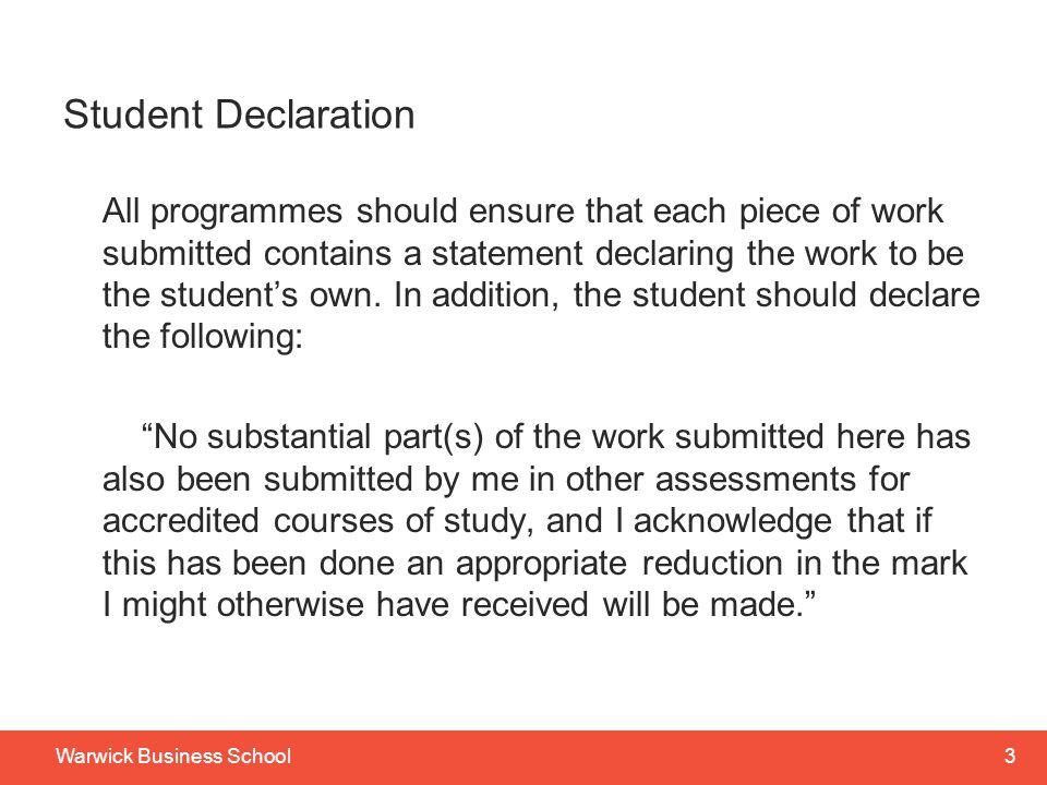 Student Declaration