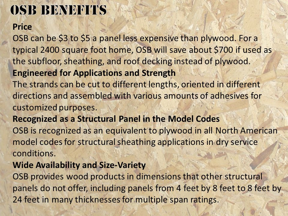 OSB benefits Price.