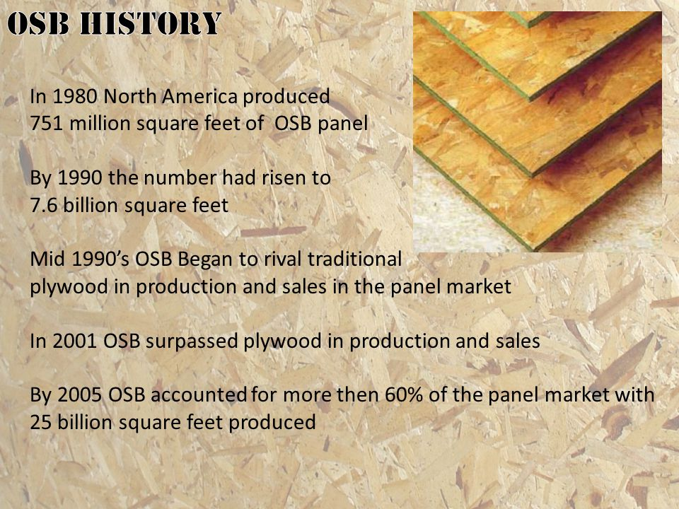 OSB history In 1980 North America produced