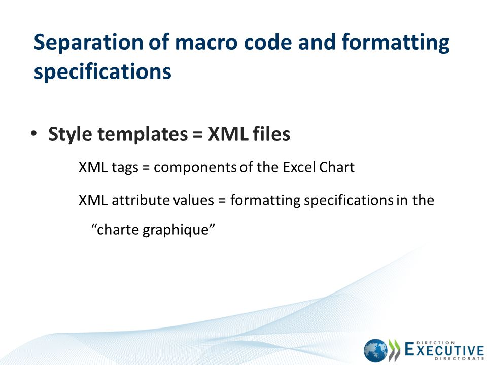 Separation of macro code and formatting specifications