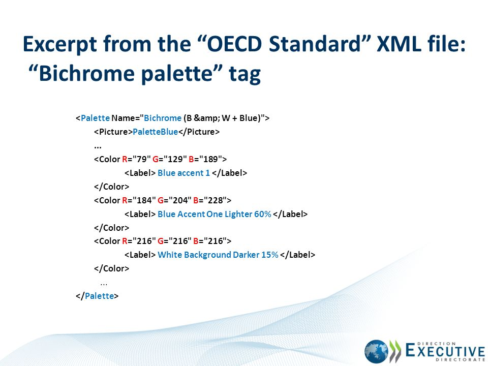 Excerpt from the OECD Standard XML file: Bichrome palette tag