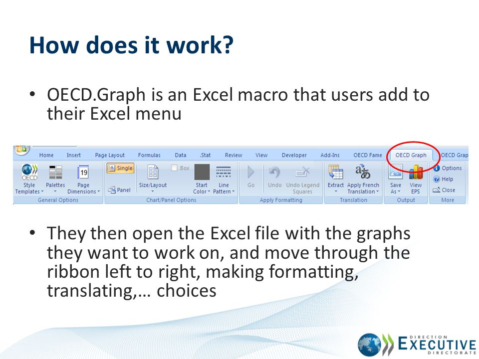How does it work OECD.Graph is an Excel macro that users add to their Excel menu.