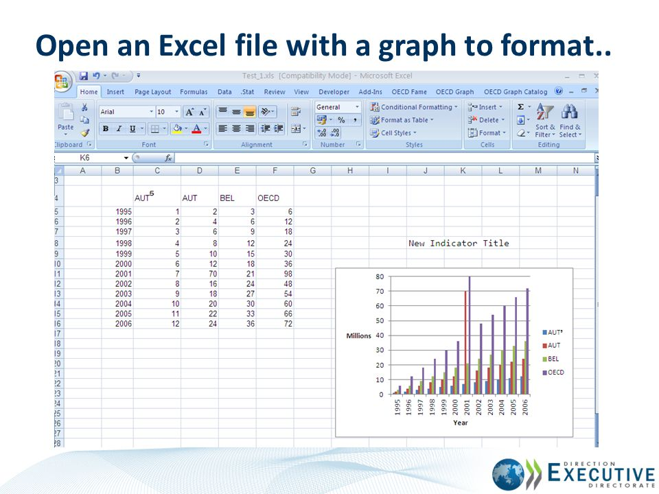 Open an Excel file with a graph to format..