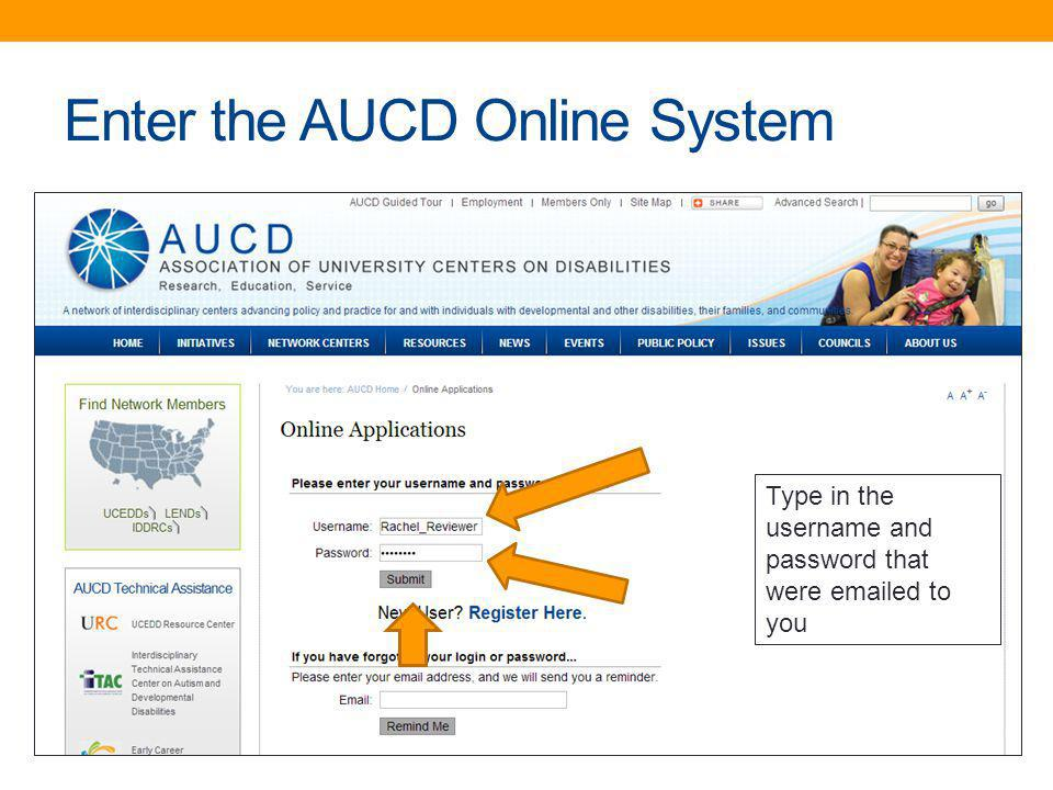 Enter the AUCD Online System