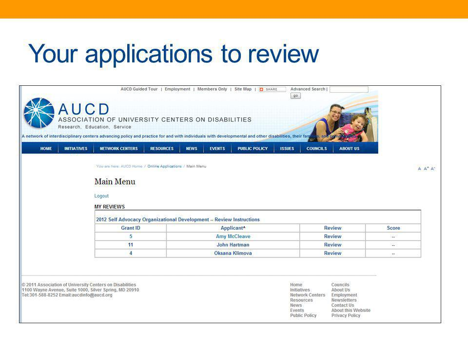 Your applications to review