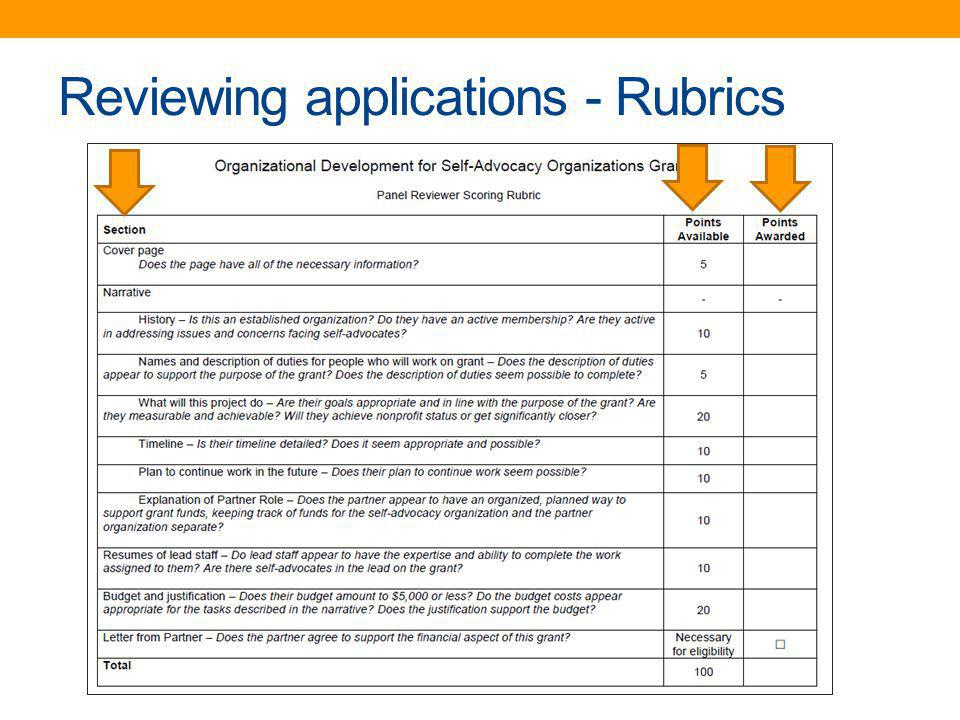 Reviewing applications - Rubrics