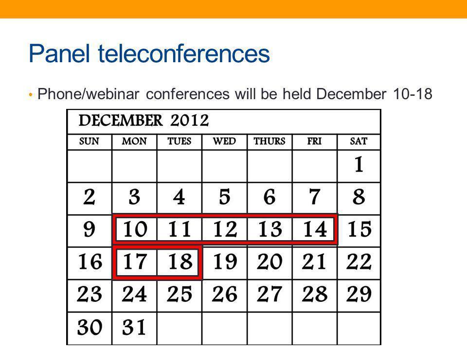 Panel teleconferences