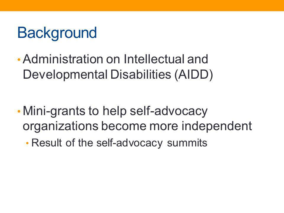 Background Administration on Intellectual and Developmental Disabilities (AIDD)