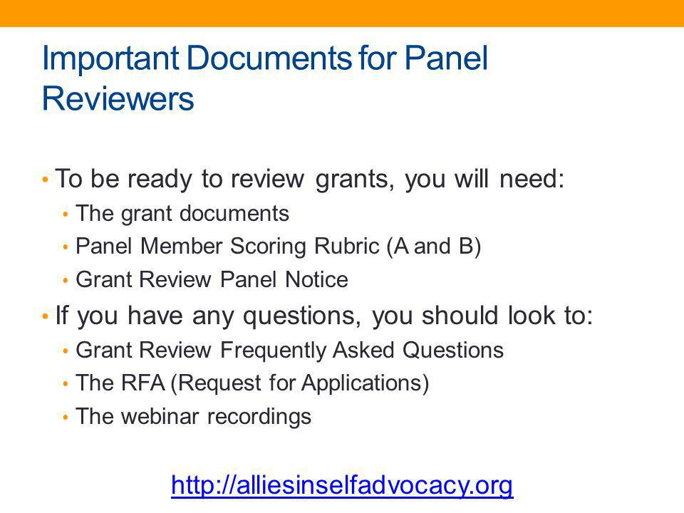 Important Documents for Panel Reviewers