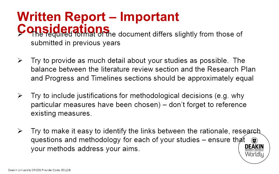Written Report – Important Considerations