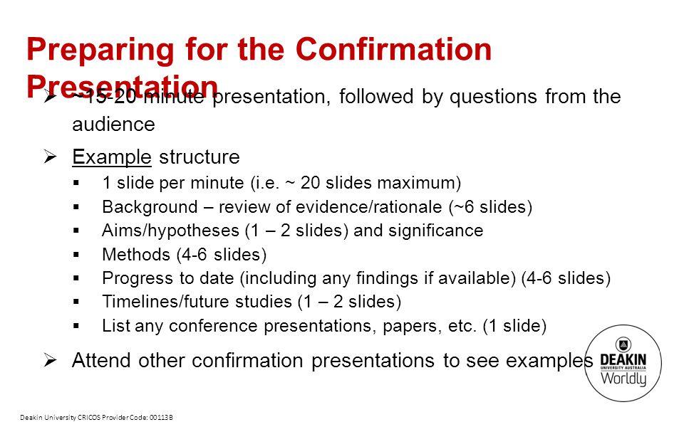 Preparing for the Confirmation Presentation