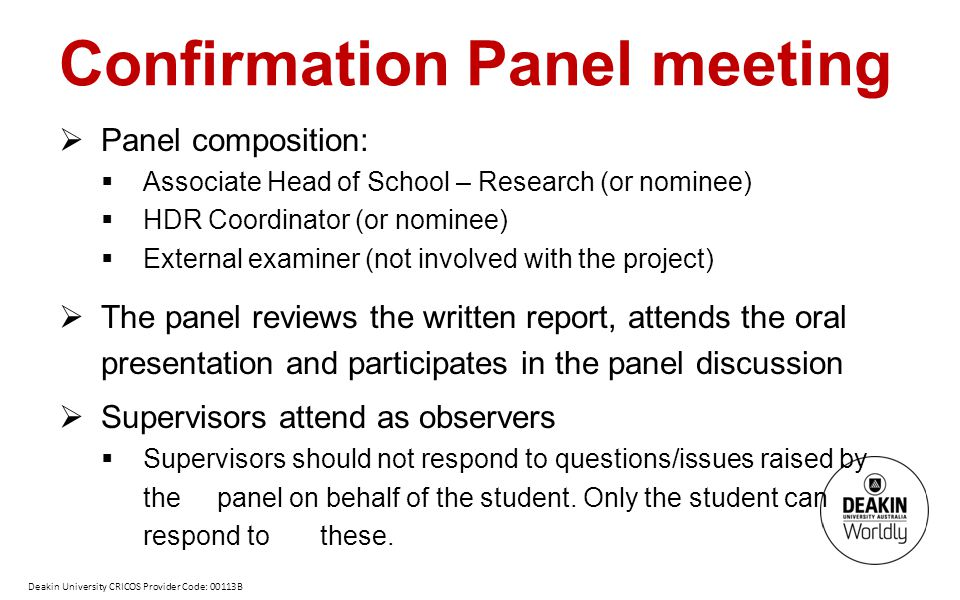 Confirmation Panel meeting