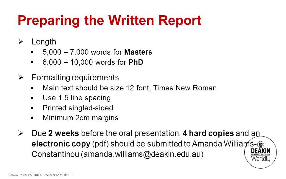 Preparing the Written Report
