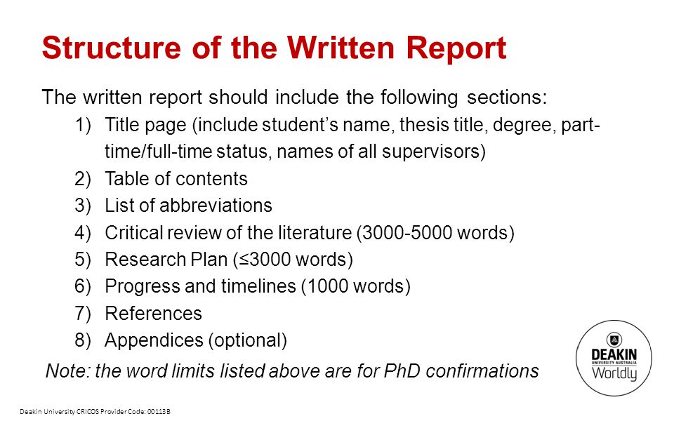 Structure of the Written Report